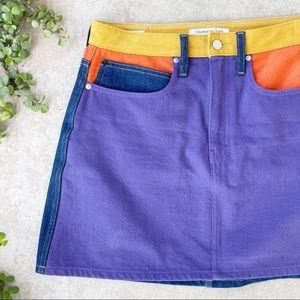 Calvin Klein Colour Block High Waist Denim Skirt